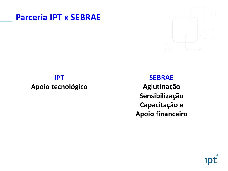 Parceria IPT x SEBRAE SEBRAE Aglutinação Sensibilização Capacitação e Apoio financeiro IPT Apoio tecnológico