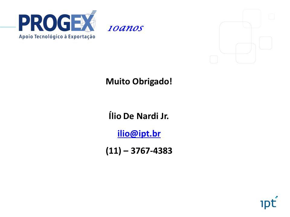 Muito Obrigado! Ílio De Nardi Jr. ilio@ipt.br (11) – 3767-4383 10anos