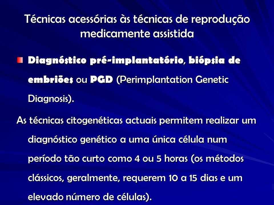 Técnicas acessórias às técnicas de reprodução medicamente assistida Diagnóstico pré-implantatório, biópsia de embriões ou PGD (Perimplantation Genetic Diagnosis).