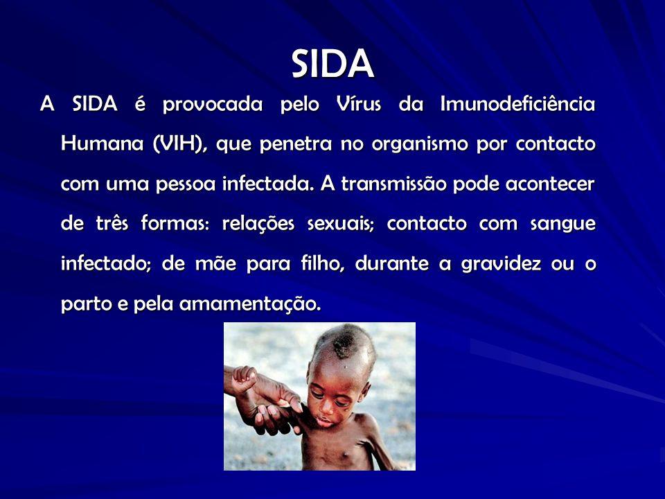 SIDA A SIDA é provocada pelo Vírus da Imunodeficiência Humana (VIH), que penetra no organismo por contacto com uma pessoa infectada. A transmissão pod