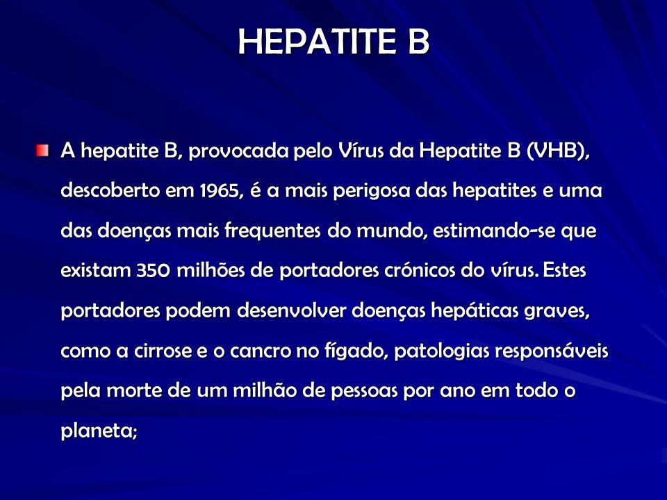 HEPATITE B A hepatite B, provocada pelo Vírus da Hepatite B (VHB), descoberto em 1965, é a mais perigosa das hepatites e uma das doenças mais frequentes do mundo, estimando-se que existam 350 milhões de portadores crónicos do vírus.