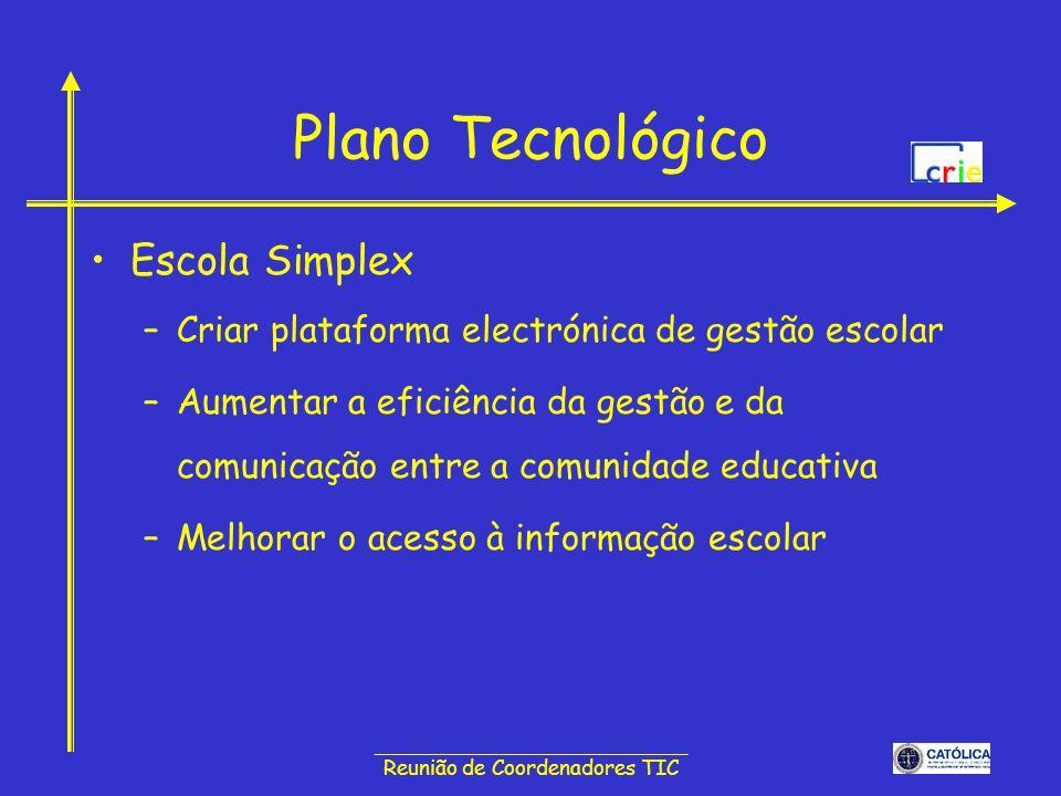 ______________________________ Reunião de Coordenadores TIC Plano Tecnológico Escola Simplex –Criar plataforma electrónica de gestão escolar –Aumentar