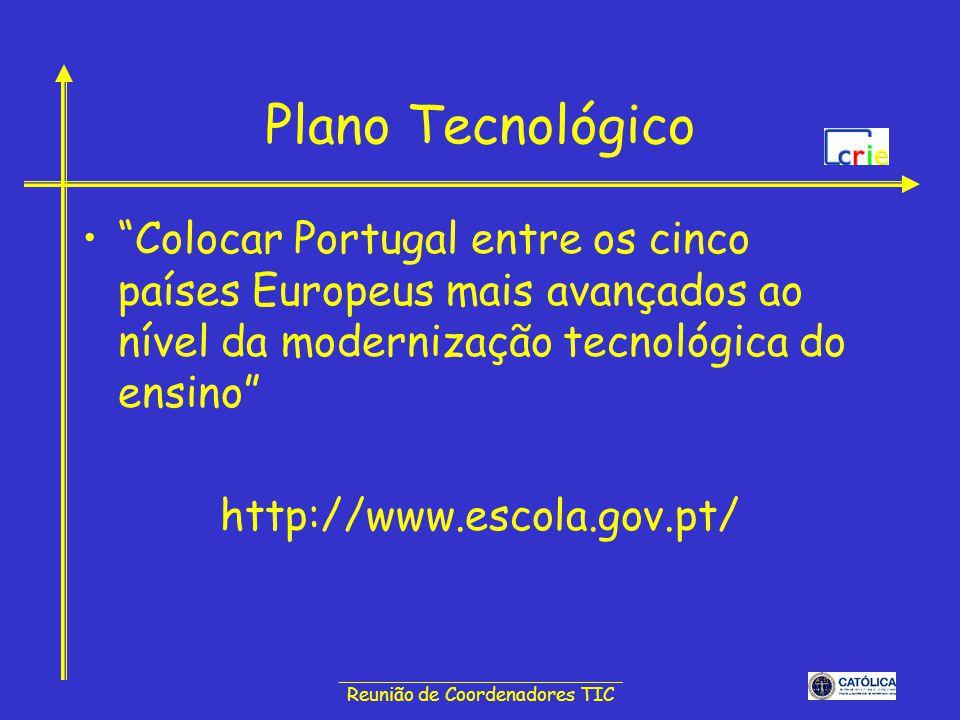 ______________________________ Reunião de Coordenadores TIC Plano Tecnológico Colocar Portugal entre os cinco países Europeus mais avançados ao nível