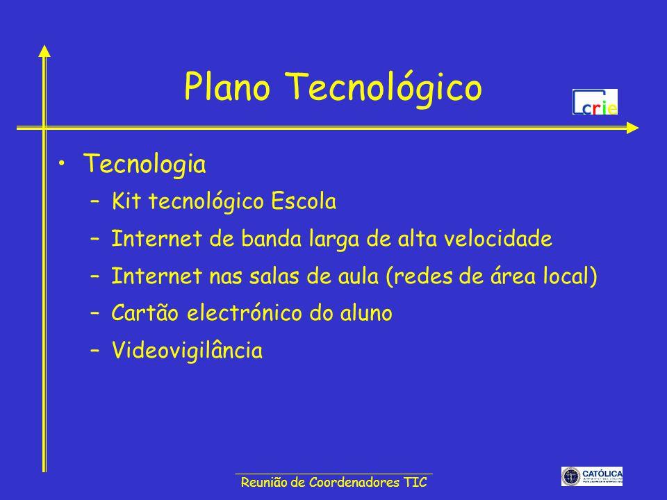 ______________________________ Reunião de Coordenadores TIC Plano Tecnológico Tecnologia –Kit tecnológico Escola –Internet de banda larga de alta velo