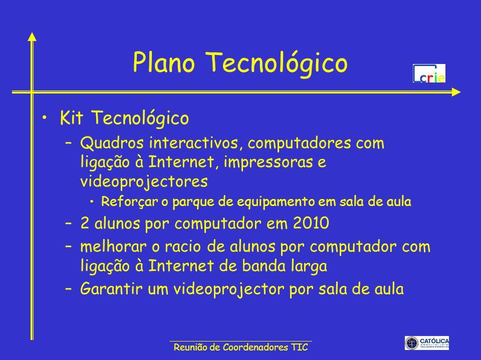 ______________________________ Reunião de Coordenadores TIC Plano Tecnológico Internet em banda larga de alta velocidade –Aumentar a velocidade de acesso das Escolas à Internet de banda larga pelo menos 48 Mbps –Garantir elevadas velocidades para ligar todos os computadores