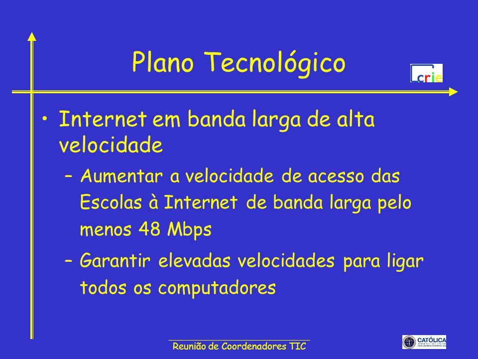 ______________________________ Reunião de Coordenadores TIC Plano Tecnológico Internet nas salas de aula –Garantir o acesso à Internet em todas as salas de aula e em todos os espaços escolares –Permitir que alunos e professores tenham acesso à Internet nas salas de aula –Possibilitar a informação da gestão escolar