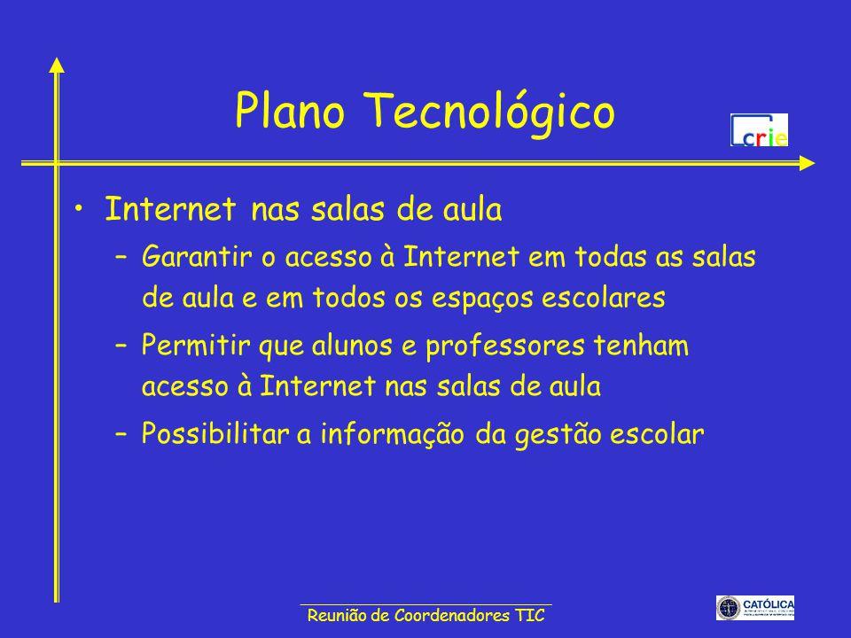 ______________________________ Reunião de Coordenadores TIC Plano Tecnológico Internet nas salas de aula –Garantir o acesso à Internet em todas as sal