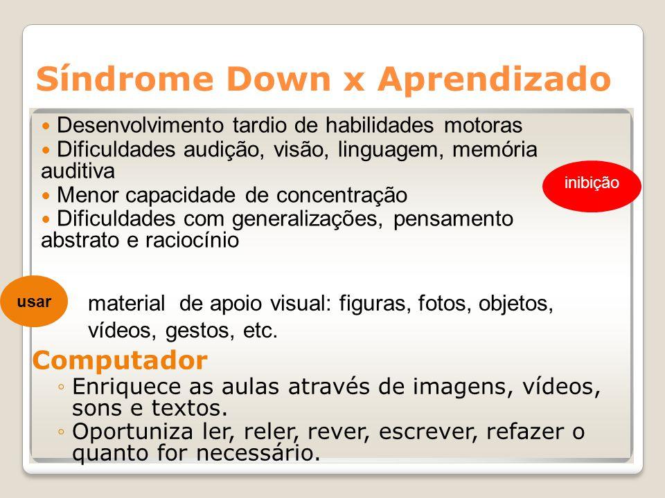 Síndrome Down x Aprendizado Computador Enriquece as aulas através de imagens, vídeos, sons e textos. Oportuniza ler, reler, rever, escrever, refazer o