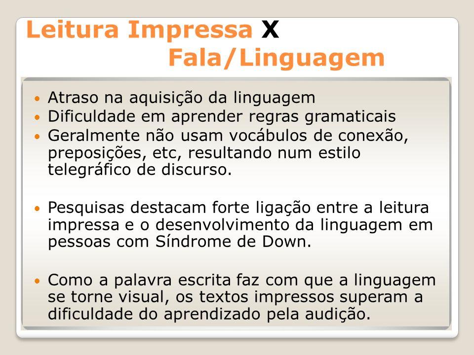 Leitura Impressa X Fala/Linguagem Atraso na aquisição da linguagem Dificuldade em aprender regras gramaticais Geralmente não usam vocábulos de conexão