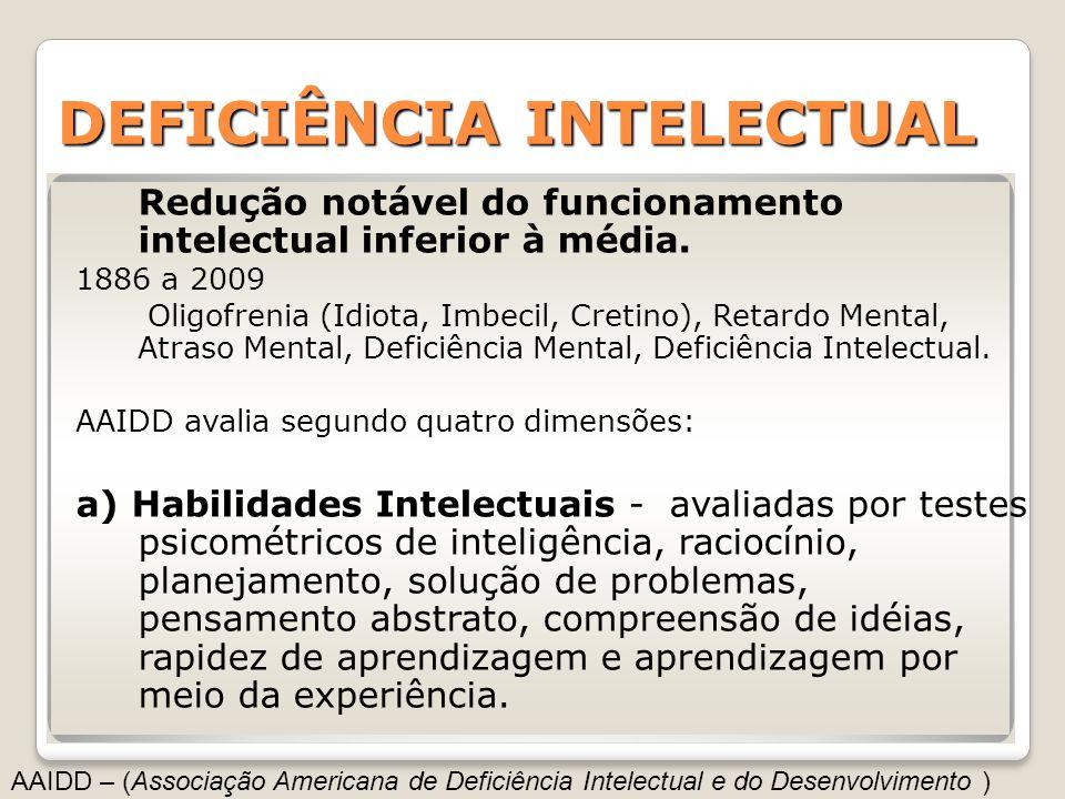 DEFICIÊNCIAINTELECTUAL DEFICIÊNCIA INTELECTUAL Redução notável do funcionamento intelectual inferior à média. 1886 a 2009 Oligofrenia (Idiota, Imbecil