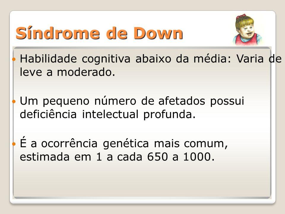 Síndrome de Down Habilidade cognitiva abaixo da média: Varia de leve a moderado. Um pequeno número de afetados possui deficiência intelectual profunda