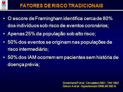 O escore de Framingham identifica cerca de 80% dos indivíduos sob risco de eventos coronários;O escore de Framingham identifica cerca de 80% dos indiv