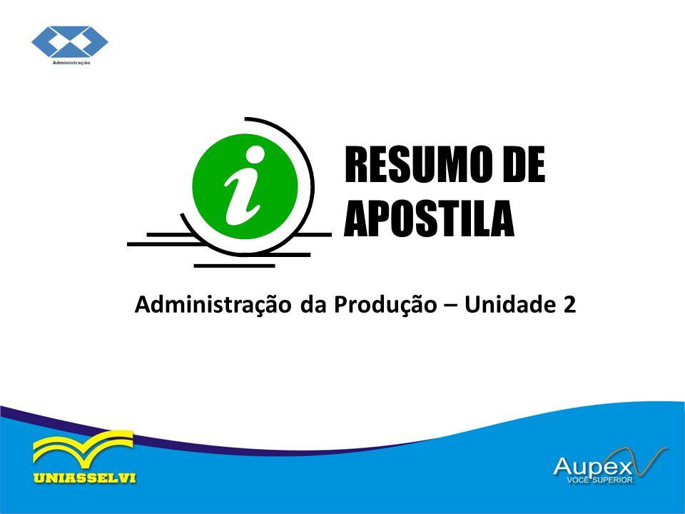 Administração da Produção – Unidade 2 RESUMO DE APOSTILA