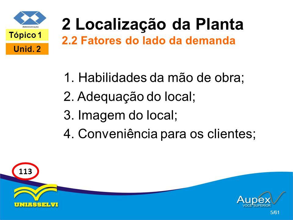 2 Localização da Planta 2.2 Fatores do lado da demanda 1. Habilidades da mão de obra; 2. Adequação do local; 3. Imagem do local; 4. Conveniência para