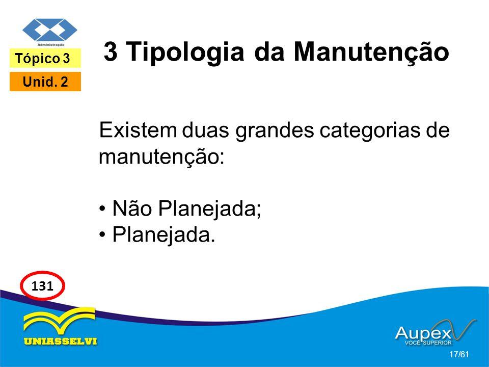 3 Tipologia da Manutenção Existem duas grandes categorias de manutenção: Não Planejada; Planejada. 17/61 Tópico 3 Unid. 2 131