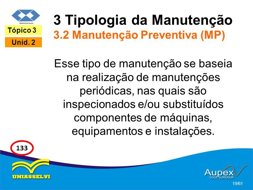 3 Tipologia da Manutenção 3.2 Manutenção Preventiva (MP) Esse tipo de manutenção se baseia na realização de manutenções periódicas, nas quais são insp