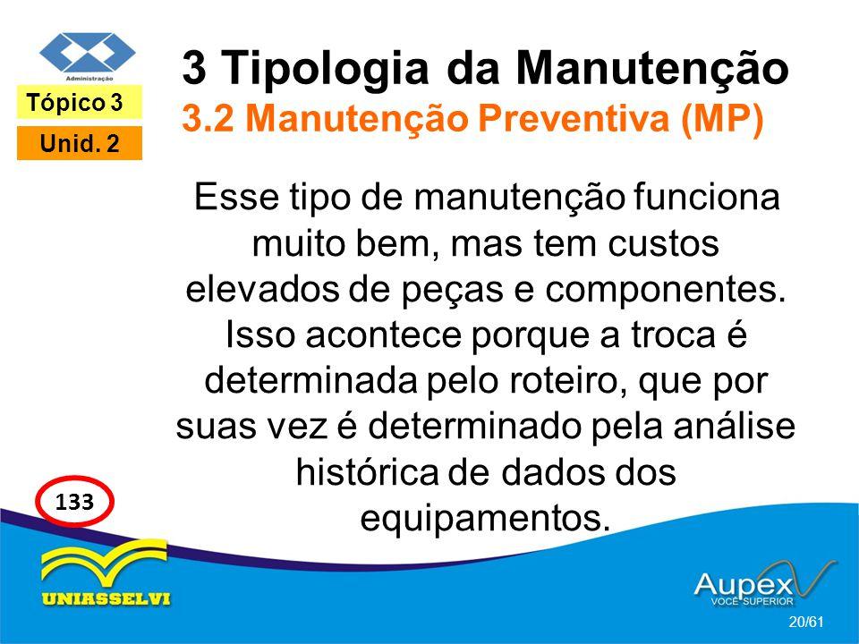 3 Tipologia da Manutenção 3.2 Manutenção Preventiva (MP) Esse tipo de manutenção funciona muito bem, mas tem custos elevados de peças e componentes. I