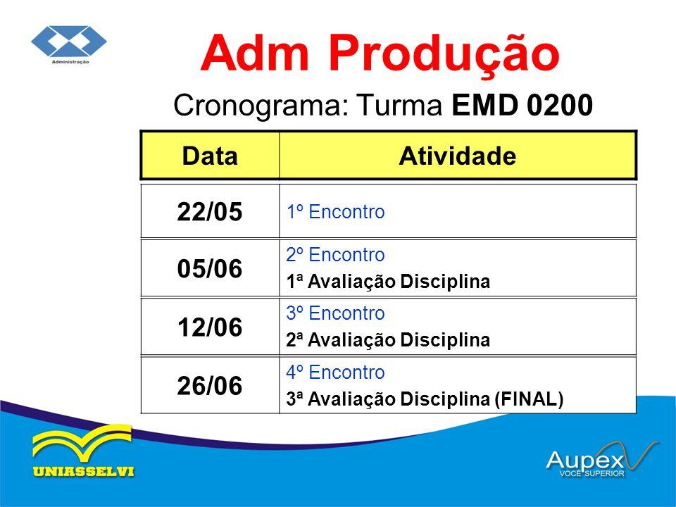 Cronograma: Turma EMD 0200 Adm Produção DataAtividade 05/06 2º Encontro 1ª Avaliação Disciplina 22/05 1º Encontro 12/06 3º Encontro 2ª Avaliação Disci