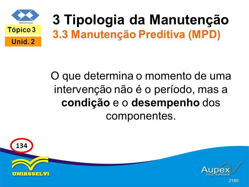 3 Tipologia da Manutenção 3.3 Manutenção Preditiva (MPD) O que determina o momento de uma intervenção não é o período, mas a condição e o desempenho d