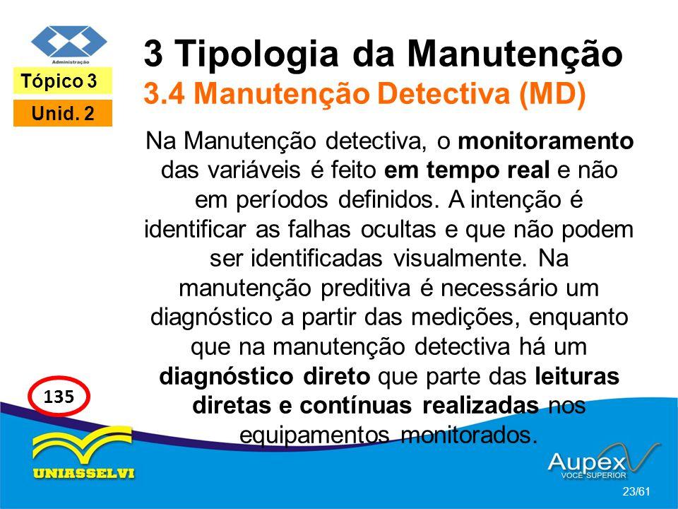 3 Tipologia da Manutenção 3.4 Manutenção Detectiva (MD) Na Manutenção detectiva, o monitoramento das variáveis é feito em tempo real e não em períodos