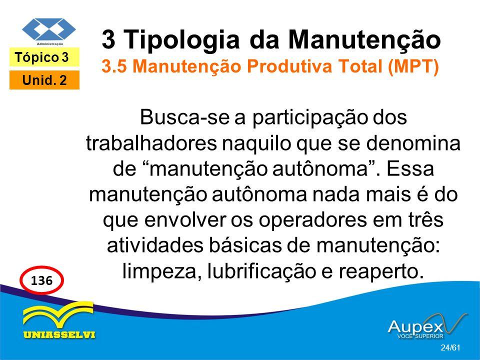 3 Tipologia da Manutenção 3.5 Manutenção Produtiva Total (MPT) Busca-se a participação dos trabalhadores naquilo que se denomina de manutenção autônom