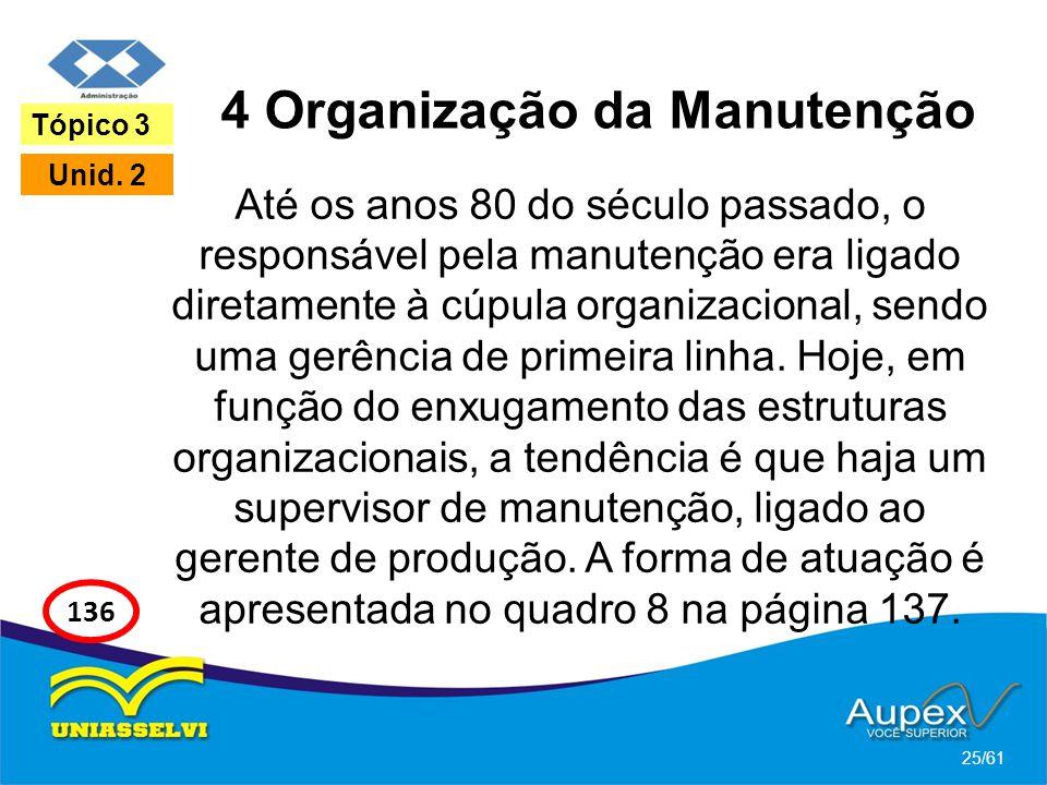 4 Organização da Manutenção Até os anos 80 do século passado, o responsável pela manutenção era ligado diretamente à cúpula organizacional, sendo uma