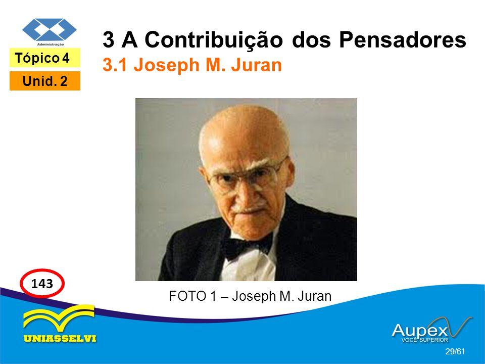 3 A Contribuição dos Pensadores 3.1 Joseph M. Juran 29/61 Tópico 4 Unid. 2 143 FOTO 1 – Joseph M. Juran