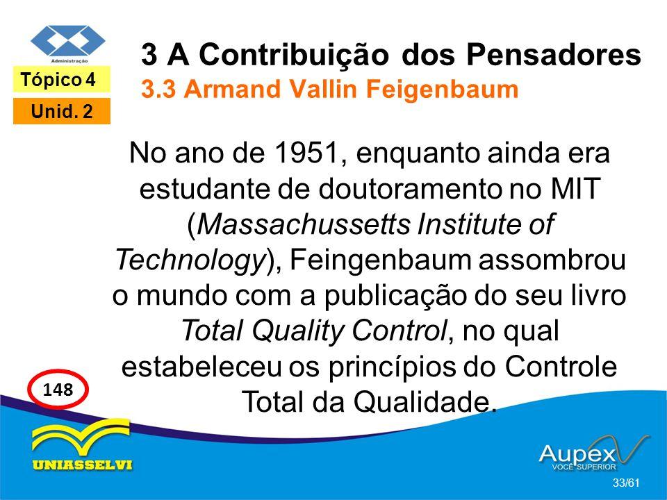 3 A Contribuição dos Pensadores 3.3 Armand Vallin Feigenbaum No ano de 1951, enquanto ainda era estudante de doutoramento no MIT (Massachussetts Insti