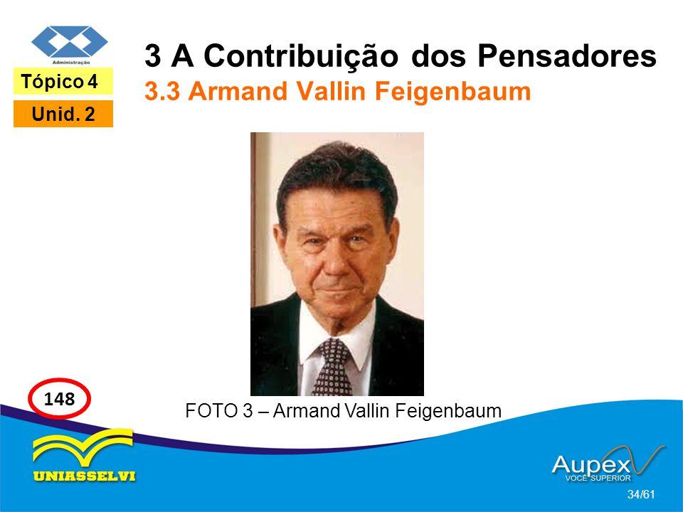 3 A Contribuição dos Pensadores 3.3 Armand Vallin Feigenbaum 34/61 Tópico 4 Unid. 2 148 FOTO 3 – Armand Vallin Feigenbaum