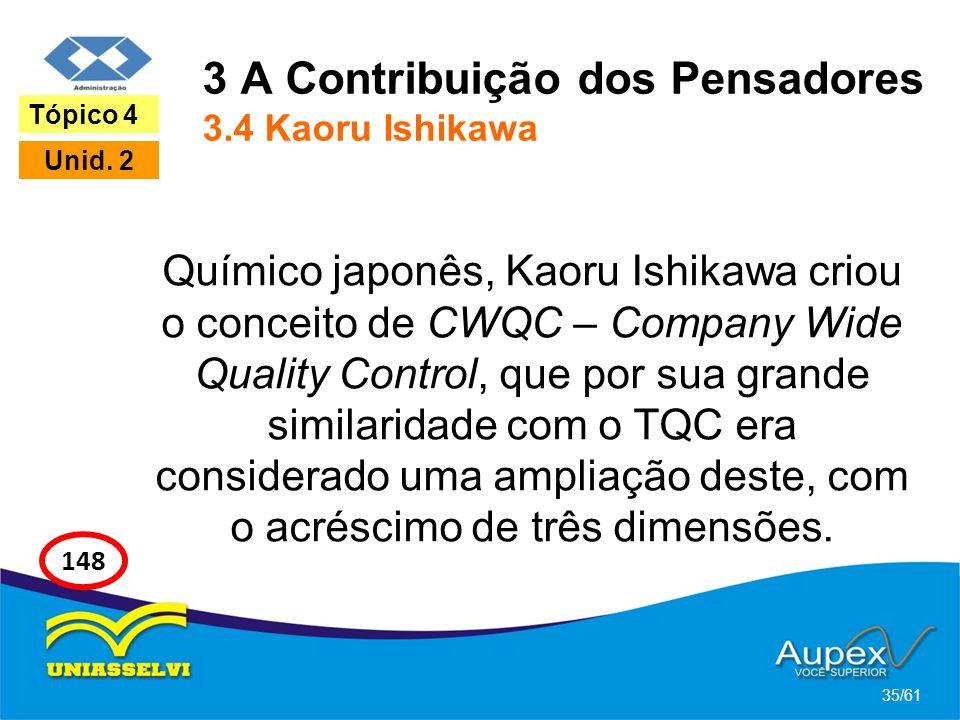 3 A Contribuição dos Pensadores 3.4 Kaoru Ishikawa Químico japonês, Kaoru Ishikawa criou o conceito de CWQC – Company Wide Quality Control, que por su