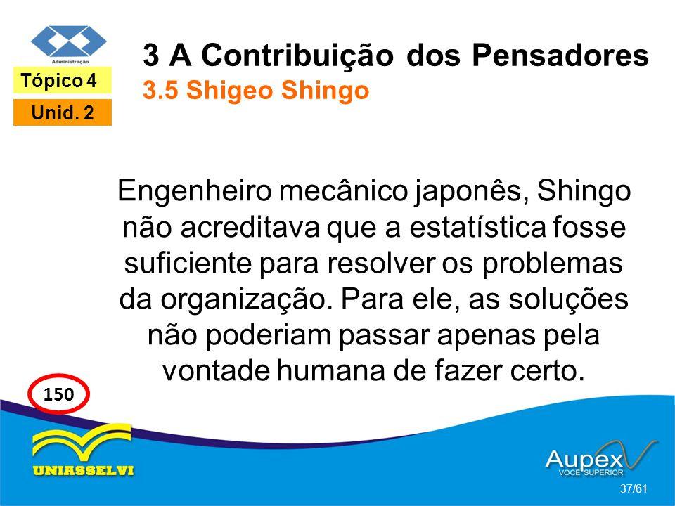 3 A Contribuição dos Pensadores 3.5 Shigeo Shingo Engenheiro mecânico japonês, Shingo não acreditava que a estatística fosse suficiente para resolver