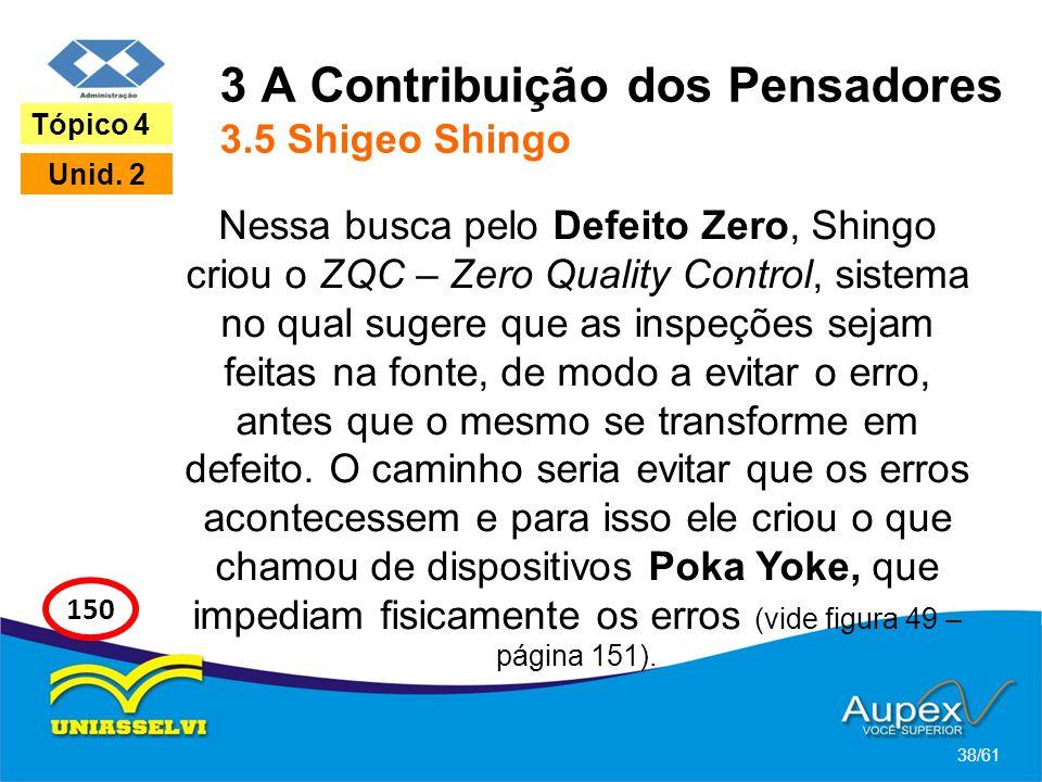 3 A Contribuição dos Pensadores 3.5 Shigeo Shingo Nessa busca pelo Defeito Zero, Shingo criou o ZQC – Zero Quality Control, sistema no qual sugere que