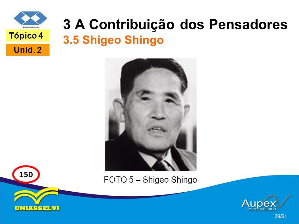 3 A Contribuição dos Pensadores 3.5 Shigeo Shingo 39/61 Tópico 4 Unid. 2 150 FOTO 5 – Shigeo Shingo