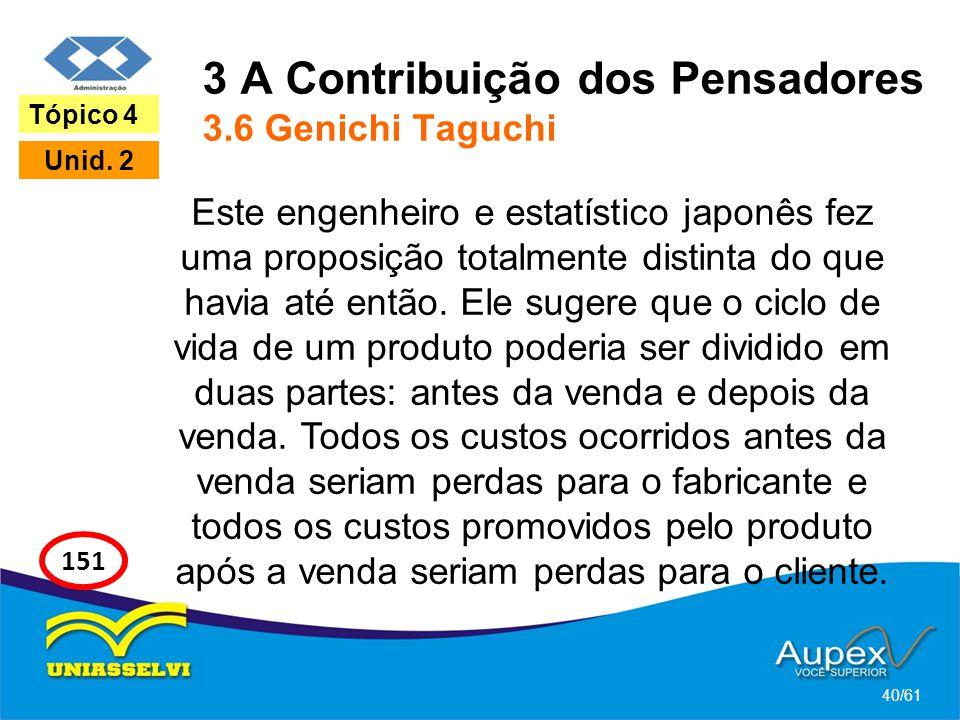 3 A Contribuição dos Pensadores 3.6 Genichi Taguchi Este engenheiro e estatístico japonês fez uma proposição totalmente distinta do que havia até entã