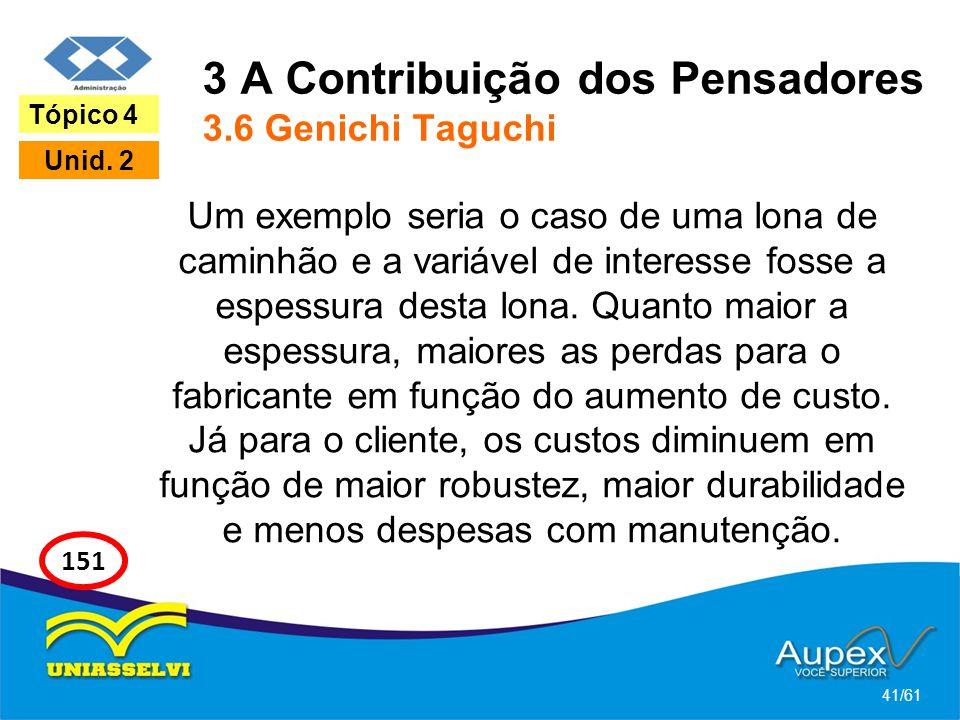 3 A Contribuição dos Pensadores 3.6 Genichi Taguchi Um exemplo seria o caso de uma lona de caminhão e a variável de interesse fosse a espessura desta