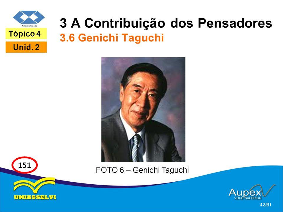 3 A Contribuição dos Pensadores 3.6 Genichi Taguchi 42/61 Tópico 4 Unid. 2 151 FOTO 6 – Genichi Taguchi