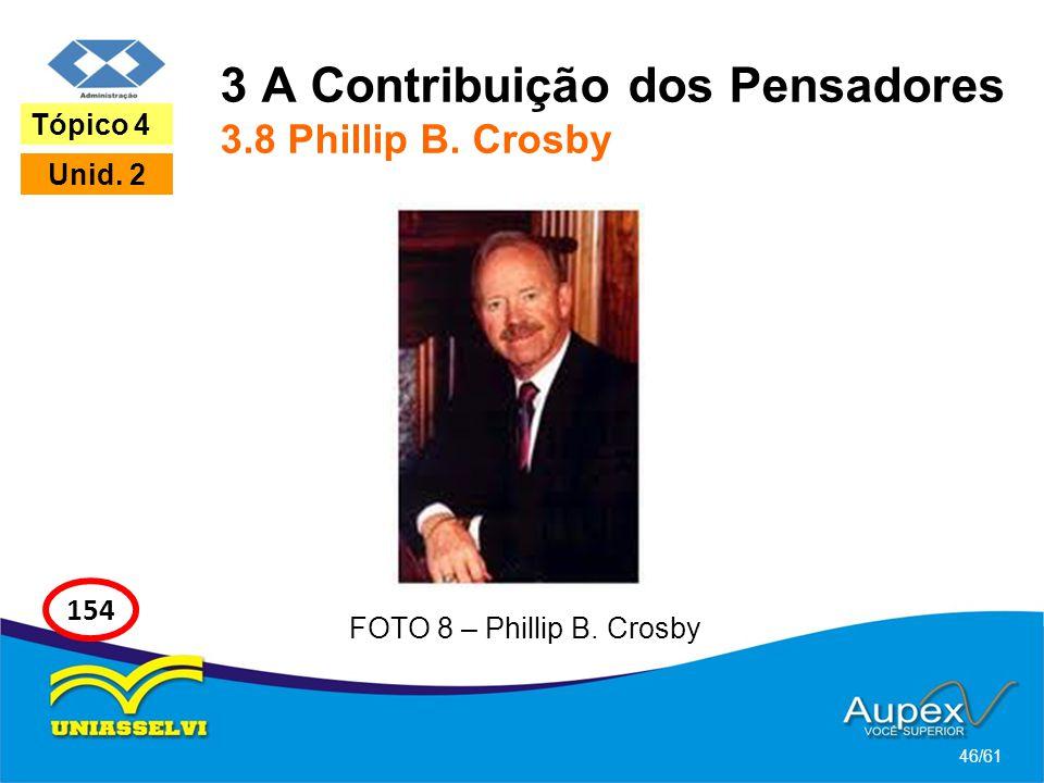 3 A Contribuição dos Pensadores 3.8 Phillip B. Crosby 46/61 Tópico 4 Unid. 2 154 FOTO 8 – Phillip B. Crosby