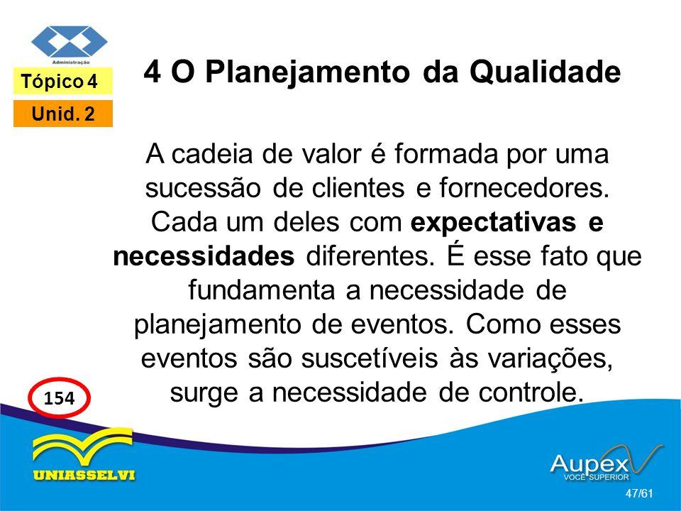 4 O Planejamento da Qualidade A cadeia de valor é formada por uma sucessão de clientes e fornecedores. Cada um deles com expectativas e necessidades d