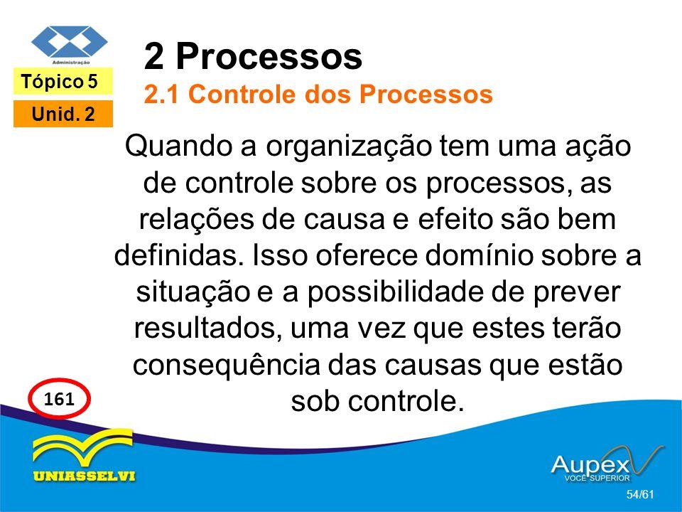 2 Processos 2.1 Controle dos Processos Quando a organização tem uma ação de controle sobre os processos, as relações de causa e efeito são bem definid