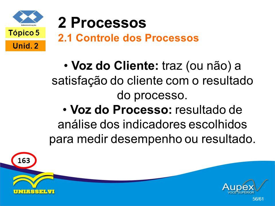 2 Processos 2.1 Controle dos Processos Voz do Cliente: traz (ou não) a satisfação do cliente com o resultado do processo. Voz do Processo: resultado d