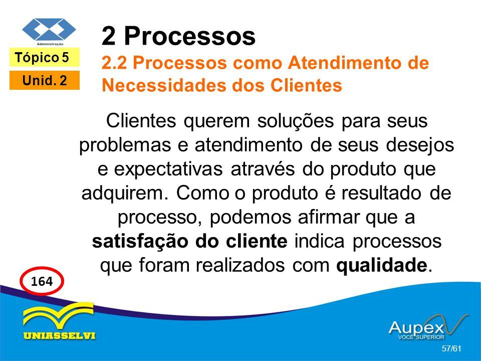 2 Processos 2.2 Processos como Atendimento de Necessidades dos Clientes Clientes querem soluções para seus problemas e atendimento de seus desejos e e
