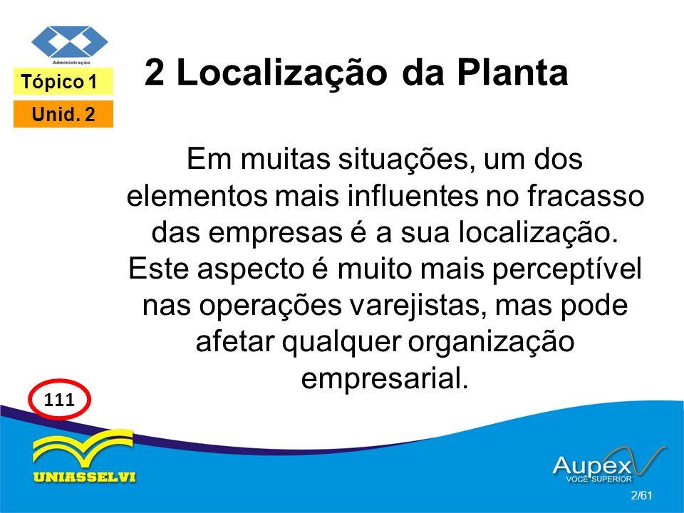 2 Localização da Planta Em muitas situações, um dos elementos mais influentes no fracasso das empresas é a sua localização. Este aspecto é muito mais