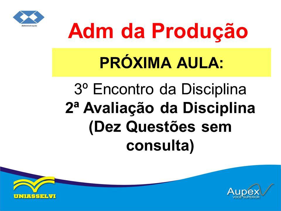 PRÓXIMA AULA: Adm da Produção 3º Encontro da Disciplina 2ª Avaliação da Disciplina (Dez Questões sem consulta)