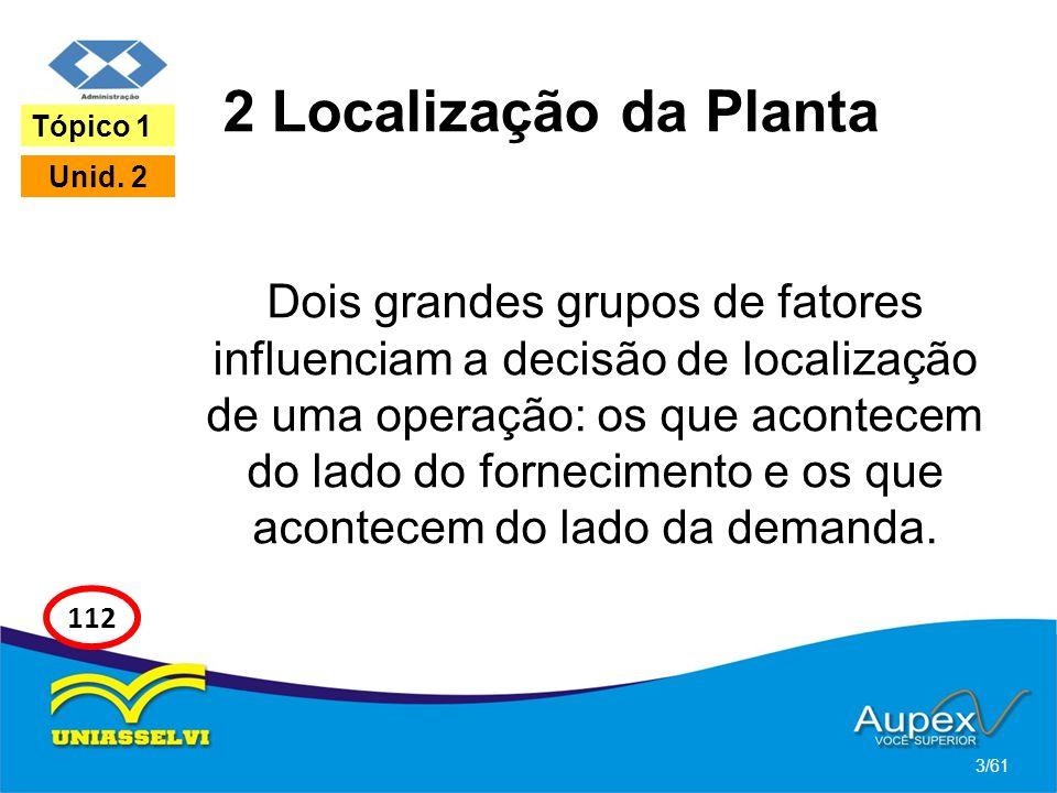 2 Localização da Planta Dois grandes grupos de fatores influenciam a decisão de localização de uma operação: os que acontecem do lado do fornecimento