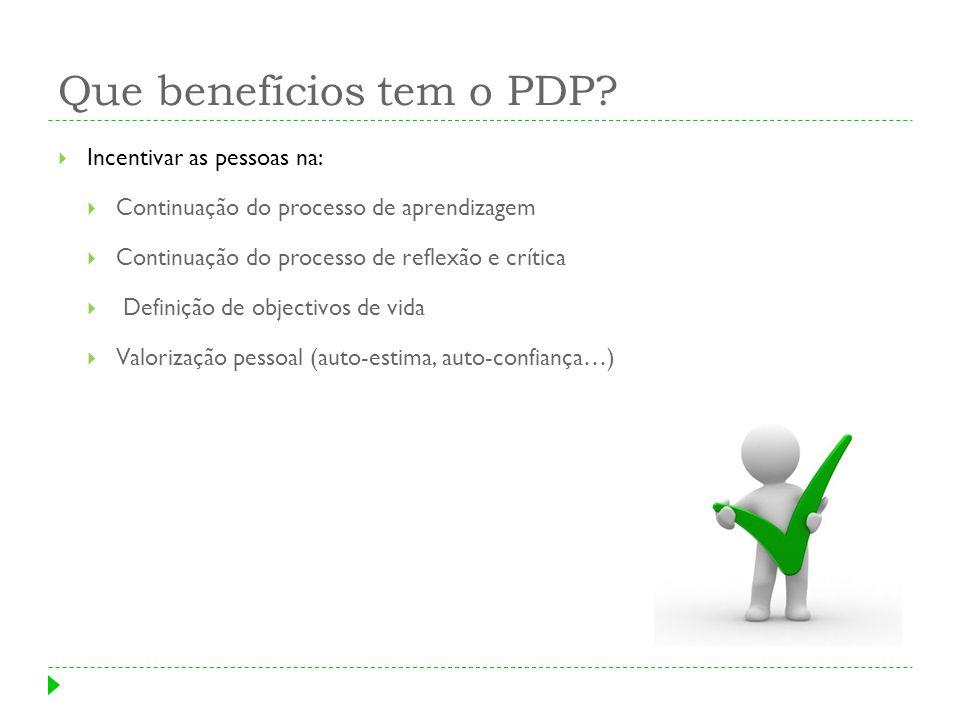 Que benefícios tem o PDP? Incentivar as pessoas na: Continuação do processo de aprendizagem Continuação do processo de reflexão e crítica Definição de