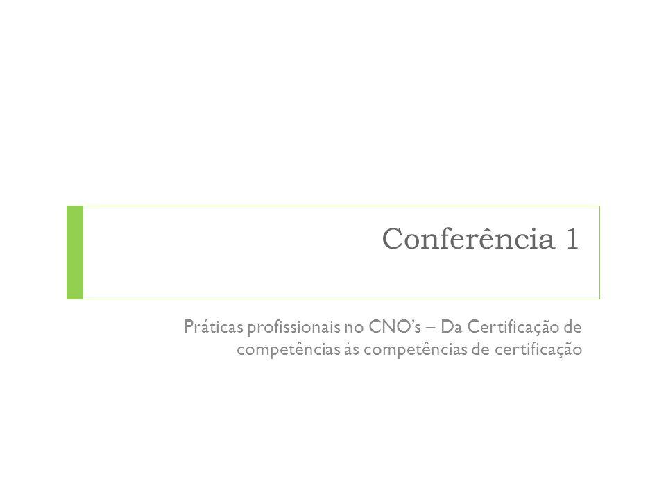Conferência 1 Práticas profissionais no CNOs – Da Certificação de competências às competências de certificação