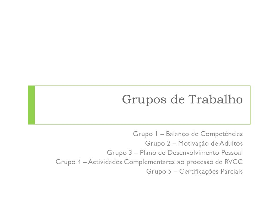 Grupos de Trabalho Grupo 1 – Balanço de Competências Grupo 2 – Motivação de Adultos Grupo 3 – Plano de Desenvolvimento Pessoal Grupo 4 – Actividades C