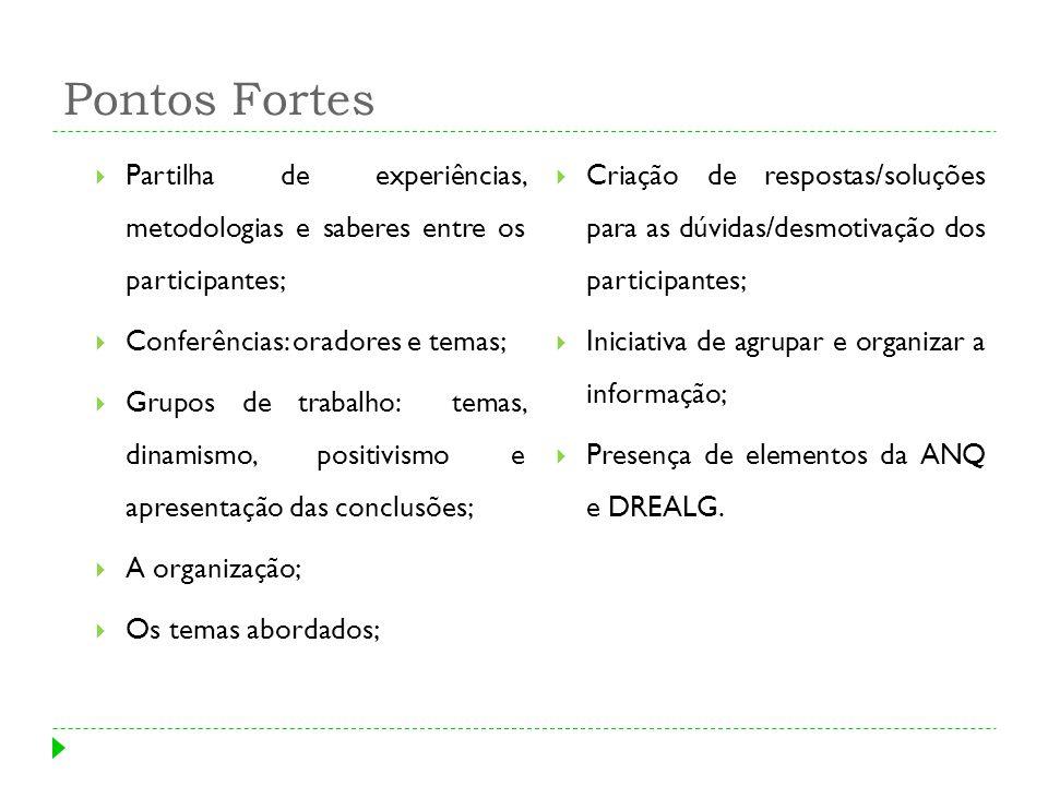 Pontos Fortes Partilha de experiências, metodologias e saberes entre os participantes; Conferências: oradores e temas; Grupos de trabalho: temas, dina