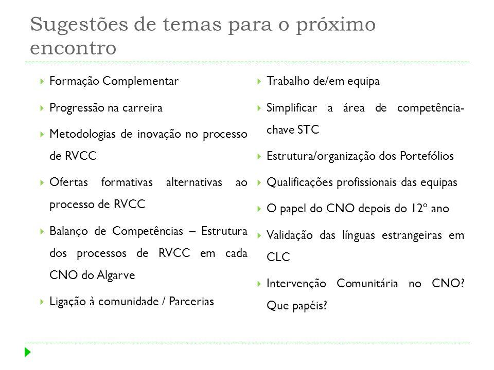 Sugestões de temas para o próximo encontro Formação Complementar Progressão na carreira Metodologias de inovação no processo de RVCC Ofertas formativa