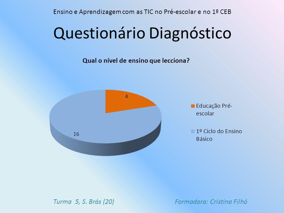 Questionário Diagnóstico Ensino e Aprendizagem com as TIC no Pré-escolar e no 1º CEB Turma 5, S.